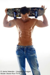 Shane Rice contemplates his freakishly gorgeous abs.