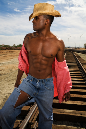 Handsome Man on Railroad Tracks