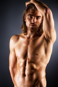 Blond shirtless guy long hair