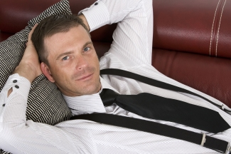 Corporate guy on couch
