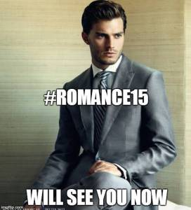 This is our publisher's cheeky poke at 50 Shades promoting their online romance festival last weekend.