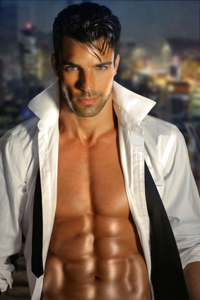 Sexy handsome hunk with white jacket