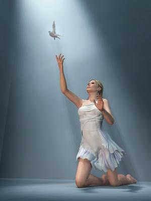 Woman releasing dove