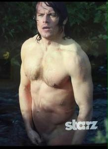 naked Sam in river