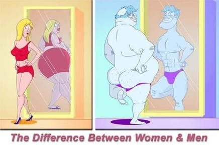 Diff btwn men and women in mirror