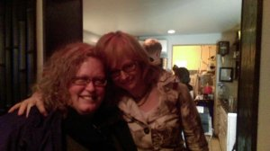 Sue London and Eloisa James at dinner. Sue's a good friend. Eloisa is so generous and friendly.