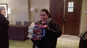 Jenn Scarpa drove hours to have Eloisa James sign a stack of her books.